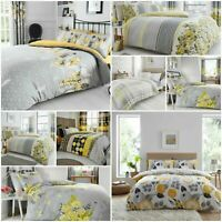 Grey and Yellow Duvet Cover With Pillowcases Reversible Bedding Set in All Sizes