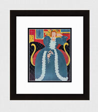 "Charming 1958 MATISSE Antique Print ""Woman Seated in a Blue Dress"" FRAMED COA"