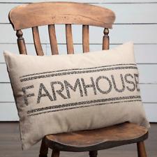 "SAWYER MILL FARMHOUSE stenciled chambray throw pillow Farm Style 14x22"""