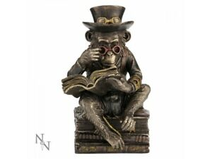 CHIMPANZEE SCHOLAR 19.5cm Bronzed Steampunk Monkey Statue Nemesis Now - FREE P+P