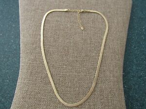 Argento Vivo Sterling Silver and 18k gold plated Herringbone chain necklace