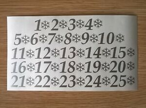 Sticky Numbers 1-25 with Snowflakes Self Adhesive Vinyl 15/20/25 mm Advent Xmas