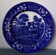 "Copeland ~ ""Spode's Tower"" ~ England ~ 9½"" FLOW BLUE LUNCHEON PLATE ~ Oval Mark"