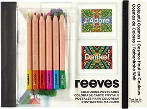 REEVES colouring Postcard colourful cosmos