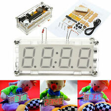 DIY Kit Blue LED Electronic Clock Microcontroller Digital Clock Time Thermometer