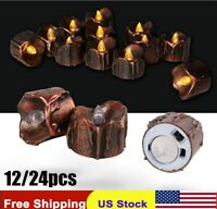 12 24x Flameless Flickering Led Tea Lights Home Décor Electric Candles Halloween