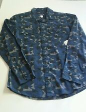 Royal Premium blue camo long sleeve bottom down shirt, sizes from S,M,L,2XL