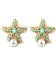 Ella Sealife Starfish Faux Pearl Ocean Inspired Earrings Goldtone/Mint