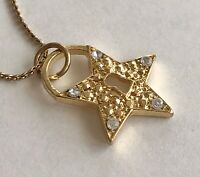 "Vintage Gold Tone Clear Stone 5 Point Star Lock Pendant 3/4""x1"" Chain Necklace"