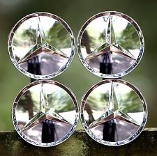 MERCEDES-BENZ (SET OF 4) 75mm FULL CHROME FINISH WHEEL CENTER CAPS MB2 WC4PC515