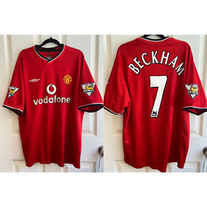 BECKHAM 7 Manchester United Home Jersey 2000/01 Vintage Size Large (L) Adults