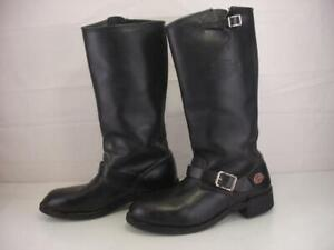 Men's 11 M Harley Davidson Black Leather Tall Motorcycle Boots Vtg USA Made Knee