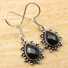 """925 Silver Plated BLACK ONYX Earrings 1.3"""" FREE SHIPPING On Additional Items NEW"""