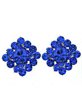 VintageStyle Square Blue Swarovski Crystal Elements Titanium Post Earrings