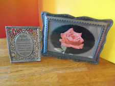 """Cathedral Art Godmother Sm. Pewter Easel Plaque + Rose Picture Frame, 4""""x5"""" Pix"""