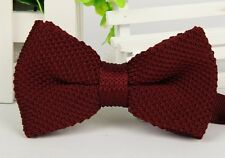 ZZBW019 Wine Red Men's Double Layer Bowtie Knit Knitted Pre Tied Bow Tie Woven