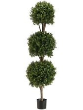 "66"" Boxwood 3 Ball Topiary Artificial Tree With Pot In Outdoor Plant Patio Fake"