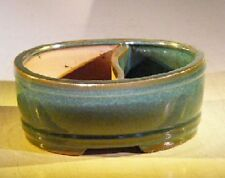 "Ceramic Bonsai Pot Blue/Green Glazed Oval Land/Water Divided 8"" x 6.5"" x 3.25"