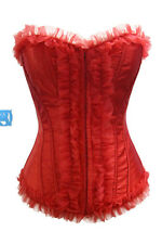 Elegant Hot Red Lace Ruffle Boned Overbust Corset XL