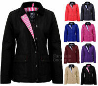 New Ladies Quilted Padded Button Zip Jacket Casual Women's Coat Plus Size 8-20
