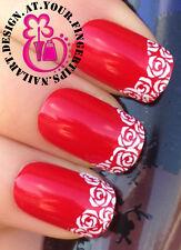 Nail Art Wrap transferencias de agua Calcomanías Stickers Set Blanco Rosa Flores consejos # 146