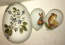 Antique Victorian Hand Blown Glass Easter Eggs Chick Rabbit Lot Of 3