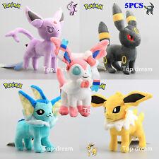 5PCS Pokemon Plush Eevee Sylveon Umbreon Espeon Vaporeon Jolteon Flareon Glaceon
