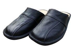 Men's Leather Slippers Shoe Sandal Slides Slip On Mules Black Scuffs Size 6-11