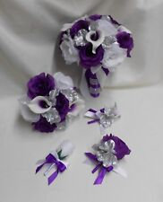 Silk Flower Wedding Bridal Bouquet Purple Eggplant Picasso Calla Lily 18 pcs