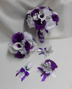 Silk Flower Wedding Bridal Bouquet Purple Eggplant Picasso Calla Lily 18 pcs