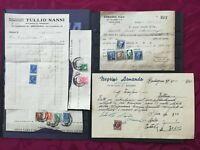 REGNO 1938-40: 5 ricevute con 14 marche da bollo, tassa di scambio, entrata, ecc