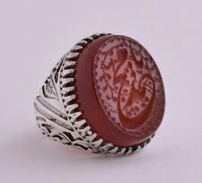 Yemen agate aqeeq aqiq akik Islamic sterling Silver Men Ring-yemeni