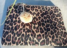 BEIGE LEOPARD ANIMAL PRINT MAKEUP/CLUTCH/PURSE BAG PURSE POMPOM TRIM BNWT