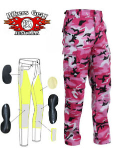 AUSTRALIAN Bikers Gear Pink Camo Ladies Motorcycle Jeans with DuPont™ Kevlar®