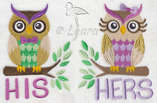 HIS AND HERS OWLS SET OF 2 BATH HAND TOWELS EMBROIDERED BY LAURA