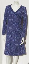 SOFT SURROUNDINGS Purple Animal Print Stretch Cotton Wrap Dress size M EUC