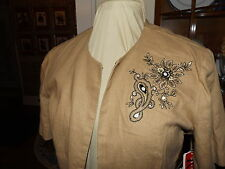 NEW R&K ORIGINALS LINEN JACKET SZ 12 TAUPE NWT BEADED & EMBROIDERED