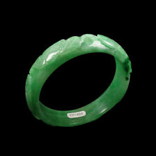61mm Handcarved Emerald Green Jadeite Jade Bracelet Bangle Fish Lotus 连年有余 03041