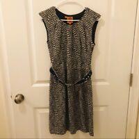 Tory Burch Silk Belted Patterned Sleeveless Dress Size 2 Navy Tan White