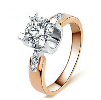 Rose Gold Eiffel Tower Cubic Zirconia Cluster Wedding Promise Ring Size 7 8 9