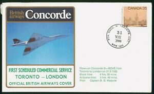 Mayfairstamps Canada Flight 1980 Commmercial Serv Toronto to London Concorde Cov