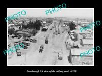 OLD LARGE HISTORIC PHOTO OF PETERBROUGH SA, THE TOWN RAILWAY YARDS c1930