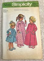 Vtg Simplicity 5815 Child Size 4 Toddlers' Robe in 2 Lengths & Nightgown Pattern
