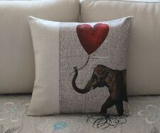 Vintage Elephant Heart Cotton Linen Throw Pillow Cushion Cover Home Decor Z652