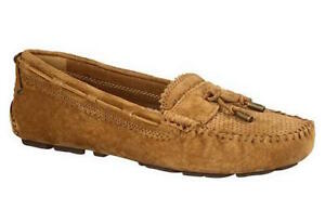 UGG AUSTRALIA $140 CHESTNUT SUEDE LEATHER RONI MOCCASIN SLIPPERS SHOES 9.5