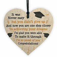 Graduation Gifts Congratulations Wood Heart Plaque Leaving Uni Son Daughter Gift