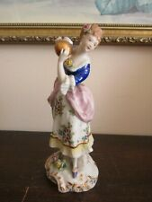 Antique Dresden Germany Porcelain Figurine Girl With Gold Ball Flowers Repaired