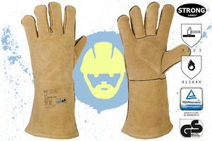 1 Paar Schweißerhandschuhe feuerfest GS TÜV Hitzeschutzhandschuhe Schweisser NEU