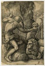 Antique Print-RELIGION-LANDSCAPE-ST. JEROME-LION-HERMITE-Franco-ca. 1620