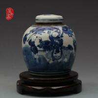 """Old Blue and white Porcelain qing Dynasty hand painted child play Jar pot 4.3"""""""